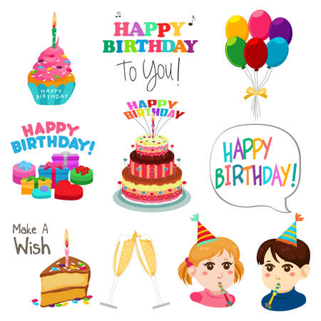 A vector illustration of Happy Birthday Design Elements