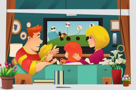A vector illustration of Family Watching TV at Home