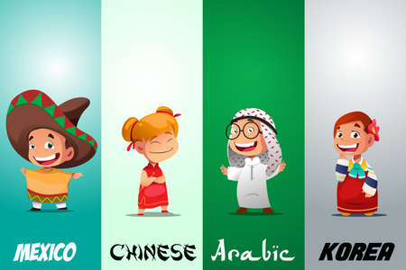 A vector illustration of Kids Dressed in Traditional Clothing