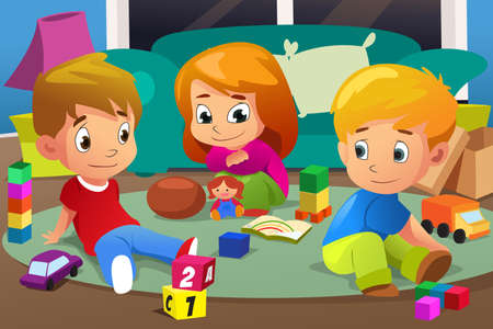 A vector illustration of Kids Playing with Their Toys at home