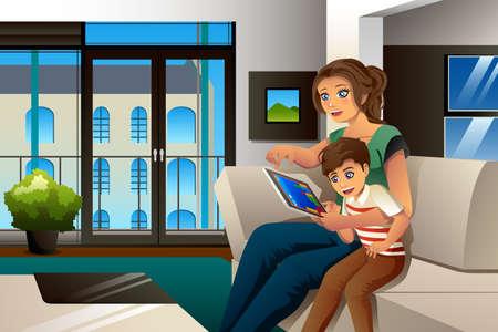 mama e hijo: Una ilustración vectorial de la madre y del hijo que juega al juego en el PC de la tableta