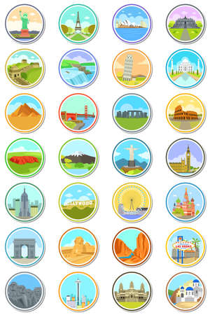 A vector illustration of World Landmarks Travel Icons