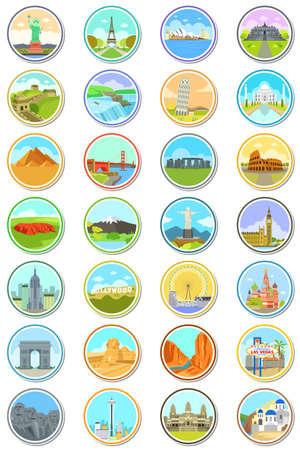 Una ilustración vectorial de las señales del mundo los iconos de viajes Foto de archivo - 70666517