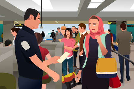 A vector illustration of People Being Checked by Custom in the Airport Illustration