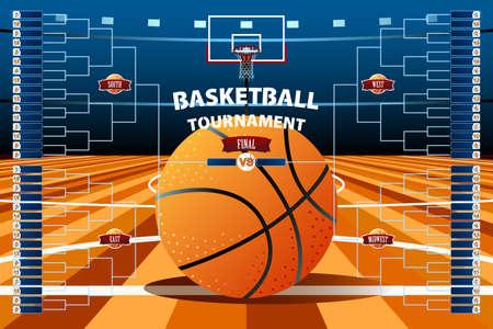 バスケット ボール トーナメント ラケット テンプレートのベクター イラスト