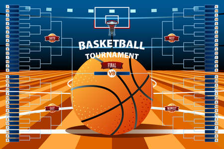 A vector illustration of Basketball Tournament Bracket Template