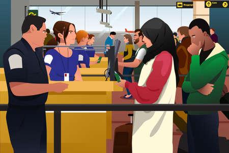 Una ilustración vectorial de las personas que se verifican la línea de inmigración en el aeropuerto Foto de archivo - 71478848