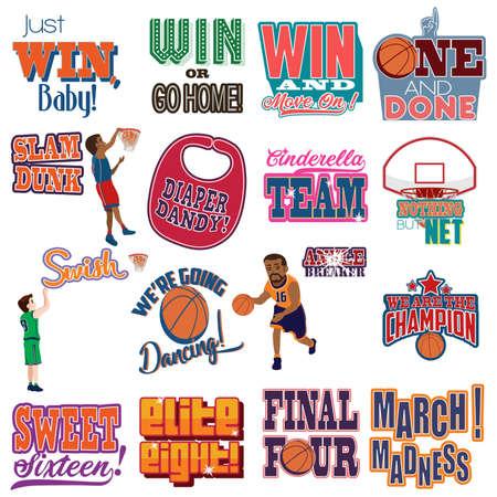Una ilustración vectorial de College Basketball Tournament Icons Cliparts