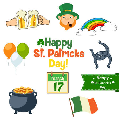 A vector illustration of St Patricks Day icons