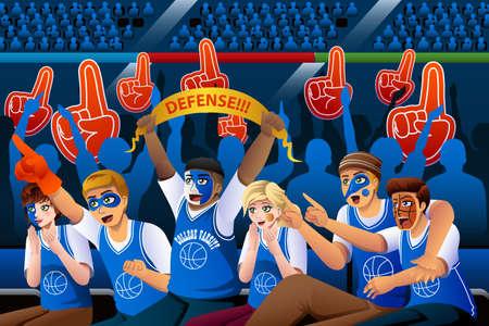 Una ilustración vectorial de los aficionados al baloncesto animando dentro del estadio Ilustración de vector