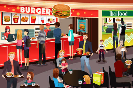A vector illustration of People Ordering Food in Food Court