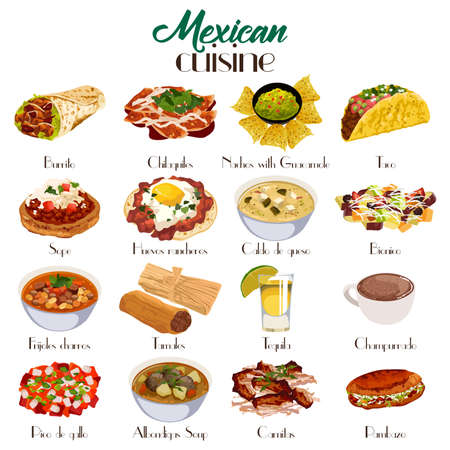 A vector illustration of Mexican cuisine icon sets