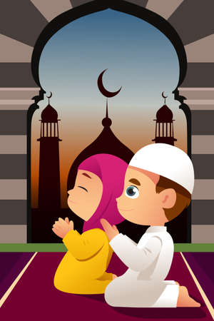 イスラム教徒の子供たちは、モスクでの祈りのベクトル図