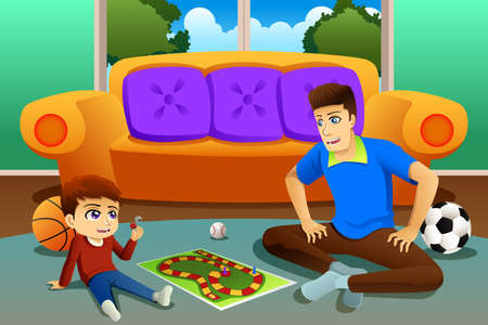 A vector illustration of Father and Son Playing Board Game at Home