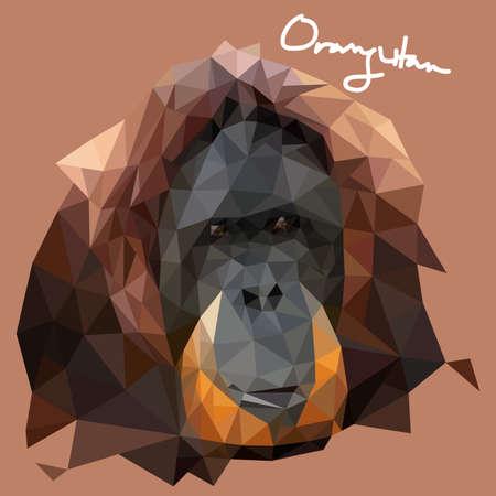style: A vector illustration of Orang Utan Illustration in Mosaic Style Illustration