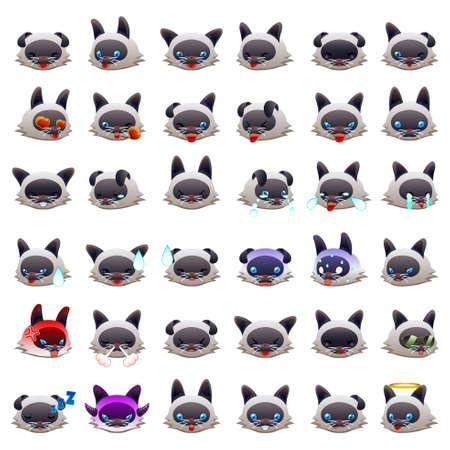 A vector illustration of Siamese Cat Emoji Emoticon Expression