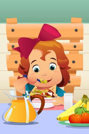 A vector illustration of a Little Girl Eating Salad Vegetables