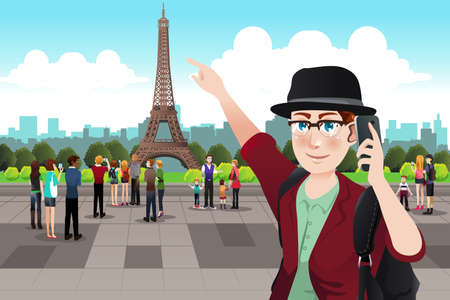 A vector illustration of Tourists Taking Picture Near Eiffel Tower Ilustracja