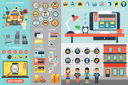 online: A vector illustration of Online Shopping Infographic Elements
