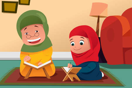 study: A vector illustration of Muslim Mother and Daughter Studying Quran at Home Illustration