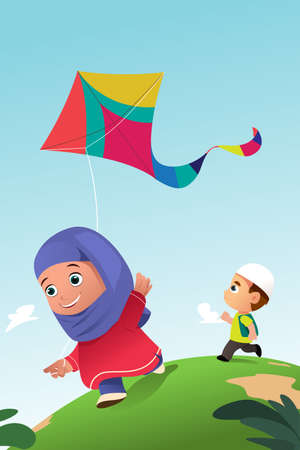 A vector illustration of Muslim Kids Playing Kite Outdoor