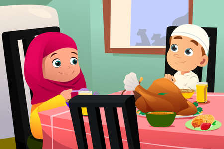 A vector illustration of Muslim Children Eating At Dining Table