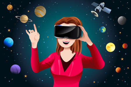 telephone: A vector illustration of Woman Playing a Virtual Reality Game