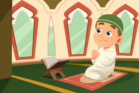 A vector illustration of Muslim Kid Praying in Mosque