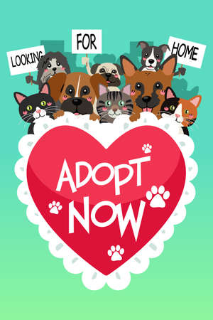 A vector illustration of Pets For Adoption Poster Zdjęcie Seryjne - 75343612