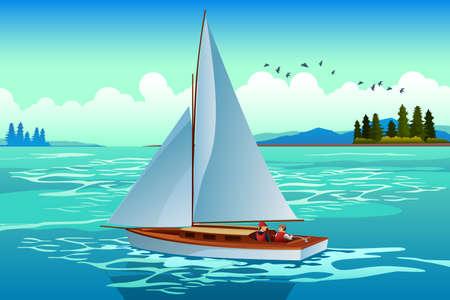 Una ilustración vectorial de Personas navegando en el mar