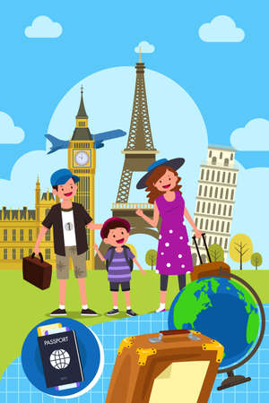 kid drawing: A vector illustration of Family Traveling Together Illustration