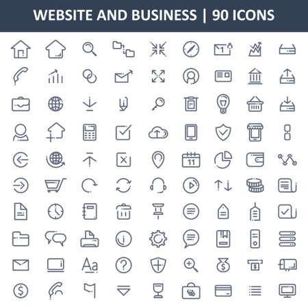 Een vectorillustratie van bedrijfs- en websitespictogrammen instellen Stock Illustratie