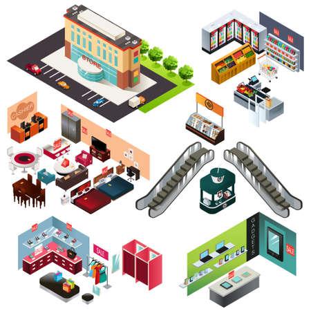 Een vector illustratie van het winkelcentrum isometrisch Stock Illustratie