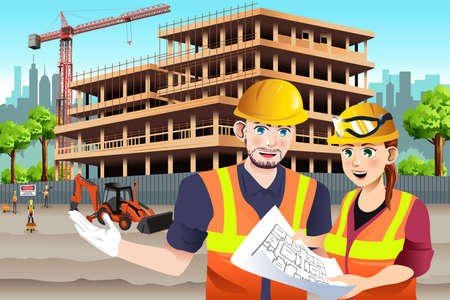 A vector illustration of  Female Construction Worker Working with a coworker Illustration