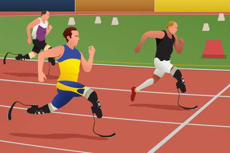 実行している競争の障害者選手のベクトル図  イラスト・ベクター素材