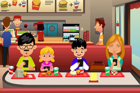 telephone: A vector illustration of Family Busy with their electronic device while Eating Out in the Restaurant Illustration