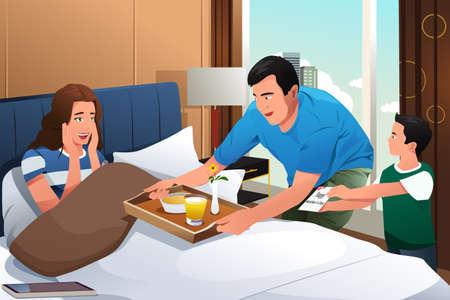 breakfast in bed: A vector illustration of Mother Getting Breakfast in Bed Surprise on Mothers Day Illustration