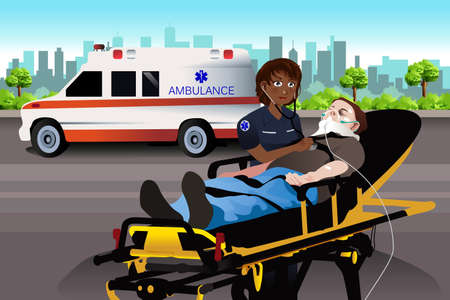 A vector illustration of Female Paramedic Examining a Patient Illustration