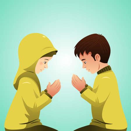 カップル祈るイスラム教徒のベクトル イラスト
