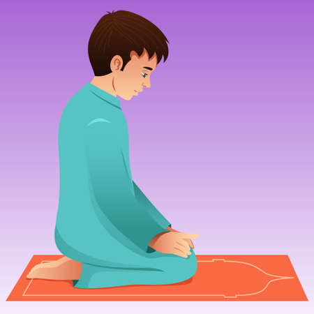 A vector illustration of Muslim Man Praying