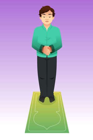 イスラム教徒の男の祈りのベクトル図