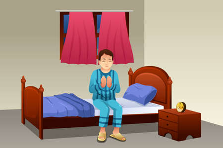 before: A vector illustration of Muslim Man Praying Before Going to Bed