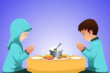 A vector illustration of Muslim Couple Eating Before Meal Illustration