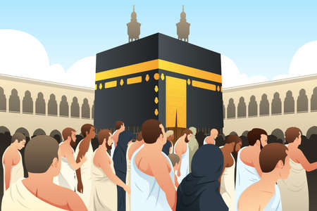 イスラム教徒の巡礼者歩いて周りカーバ神殿にメッカのベクトル イラスト