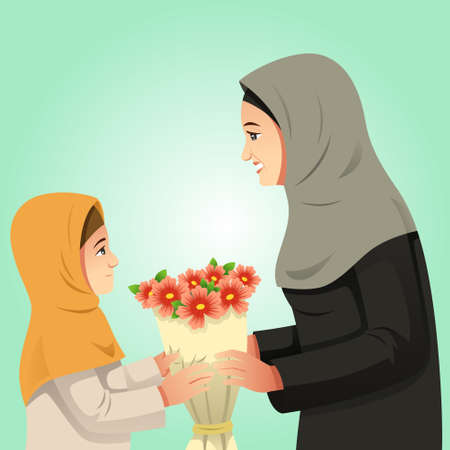 A vector illustration of Muslim Girl Giving Flowers to Her Mother Çizim