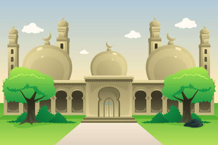 daytime: A vector illustration of Islamic Mosque During Daytime