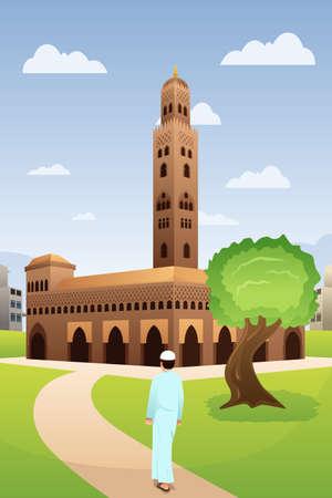 A vector illustration of Muslim Man Going to Mosque Ilustração