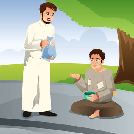 A vector illustration of Muslim Man Giving Donation to a Poor Man Illustration