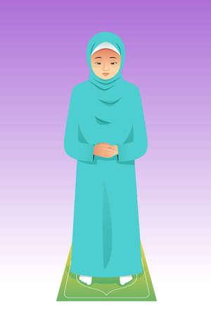 イスラム教徒の女性の祈りのベクトル図  イラスト・ベクター素材