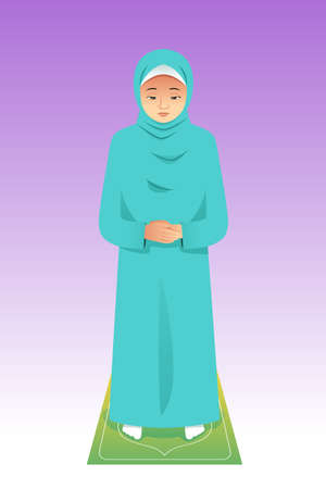 A vector illustration of Muslim Woman Praying